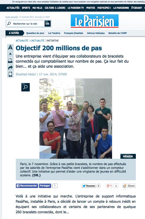Le parisien 17 nov 2014 une initiative qui marche for Creer une entreprise qui marche